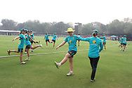 Australian players warm up before the start of the third women's one day International ( ODI ) match between India and Australia held at the Reliance Cricket Stadium in Vadodara, India on the 18th March 2018<br /> <br /> Photo by Vipin Pawar / BCCI / SPORTZPICS
