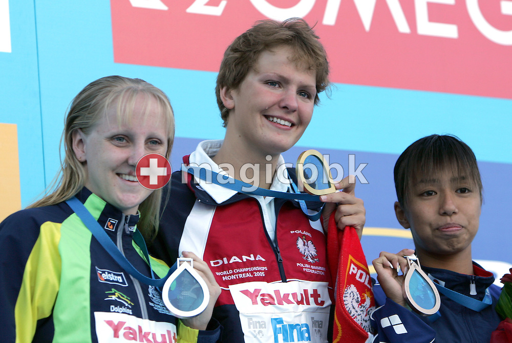 (L-R) Australia's Jessicah Schipper, Poland's Otylia Jedrzejczak and Japan's Yuko Nakanishi pose with their medals on the victory stand after the women's 200m Butterfly  at the FINA World Championships in Montreal, Canada Thursday 28 July, 2005. (Photo by Patrick B. Kraemer / MAGICPBK)