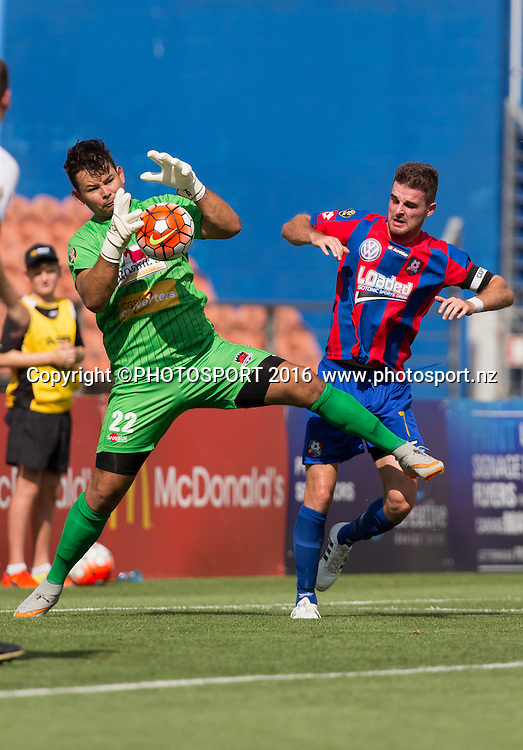 Canterbury United's goalkeeper Coey Turipa keeps ball from WaiBOP midfielder Mark Jones during the ASB Premiership - Round 11 football match at FMG Stadium, Hamilton, Sunday 7 February 2016. Copyright Photo: Stephen Barker / www.photosport.nz
