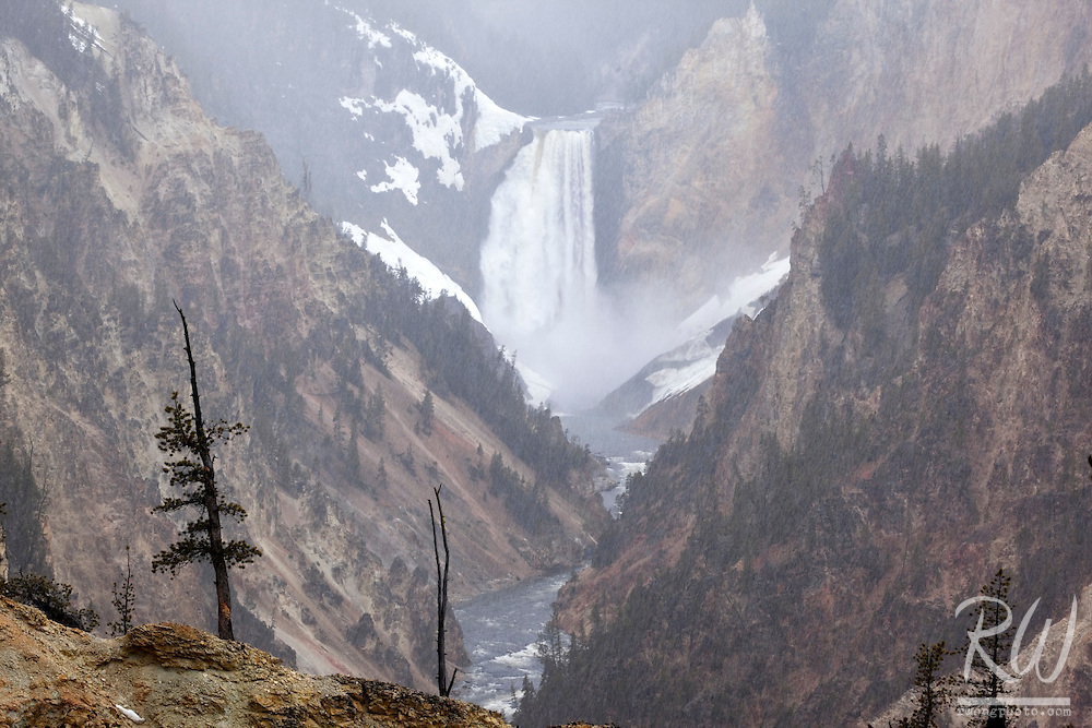 Lower Yellowstone Falls in Grand Canyon of the Yellowstone - Artist Point, Yellowstone National Park, Wyoming