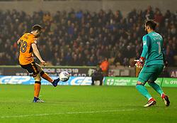 Diogo Jota of Wolverhampton Wanderers scores a goal to make it 1-0 - Mandatory by-line: Robbie Stephenson/JMP - 11/04/2018 - FOOTBALL - Molineux - Wolverhampton, England - Wolverhampton Wanderers v Derby County - Sky Bet Championship