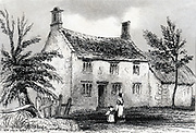 Woolsthorpe Manor, near Grantham, Lincolnshire, birthplace of Isaac Newton (1642-1727). Engraving from Dugdale 'England and Wales Delineated' 1840.