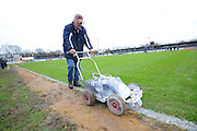 White lines being painted after the pitch passed an inspection before the The FA Cup third round match between Eastleigh and Bolton Wanderers at Silverlake Stadium, Ten Acres, Eastleigh, United Kingdom on 9 January 2016. Photo by Graham Hunt.