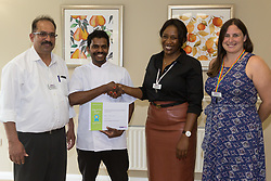 Care UK's Franklin House care home in West Drayton, London, has been awarded a Two Years Pressure Prevention Award from North West London NHS Foundation, in collaboration with Hillingdon TVN Team and Hillingdon CCG. Head Chef Denzil Dia receives his award for 5 years' Service. London, July 11 2019.