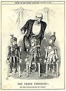 The Three Emperors'. Otto von Bismarck as puppet-master pulling the strings of the emperors of Russia, Germany and Austria.  Varzin or Varzim was Bismarck's country estate. Cartoon by John Tenniel from 'Punch', London, 20 September 1884.