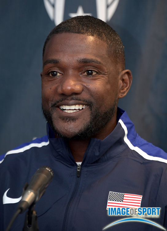 Apr 27, 2018; Philadelphia, PA, USA; Justin Gatlin at USA vs. The World press conference during the 124th Penn Relays at Franklin Field.