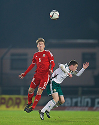 BALLYMENA, NORTHERN IRELAND - Thursday, November 20, 2014: Wales' Max Smallcombe in action against Northern Ireland during the Under-16's Victory Shield International match at the Ballymena Showgrounds. (Pic by David Rawcliffe/Propaganda)