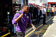 Raheem Sterling (7) of Manchester City gets off the team bus on arrival to the Vitality Stadium ahead of the Premier League match between Bournemouth and Manchester City at the Vitality Stadium, Bournemouth, England on 25 August 2019.