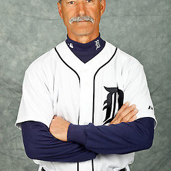 February 28, 2012; Lakeland, FL, USA; Detroit Tigers first base coach Tom Brookens (61) poses for photo day in the rec room at the Detroit Tigers Headquarters.  Mandatory Credit: Derick E. Hingle-US PRESSWIRE