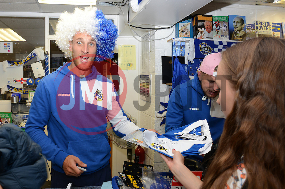 Lee Brown helps out at the club shop during the open day at the memorial stadium  - Mandatory by-line: Dougie Allward/JMP - 07966386802 - 26/07/2015 - SPORT - FOOTBALL - Bristol,England - Memorial Stadium - Bristol Rovers Open Day - Bristol Rovers Open Day