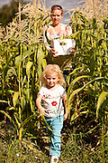 Anna Bell, age three, helps her mom Jill Bell, of Bell Organic Gardens, harvest corn from the family's fields in Sandy Utah.