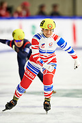 Graz, Austria - 2017 March 24: Praskovia Iakovleva from SO from Russia (159) competes in Speed Skating 333 meters race while Special Olympics World Winter Games Austria 2017 at Icestadium Graz Liebenau on March 24, 2017 in Graz, Austria.<br /> <br /> Mandatory credit:<br /> Photo by &copy; Adam Nurkiewicz / Mediasport<br /> <br /> Adam Nurkiewicz declares that he has no rights to the image of people at the photographs of his authorship.<br /> <br /> Picture also available in RAW (NEF) or TIFF format on special request.<br /> <br /> Any editorial, commercial or promotional use requires written permission from the author of image.<br /> <br /> Image can be used in the press when the method of use and the signature does not hurt people on the picture.