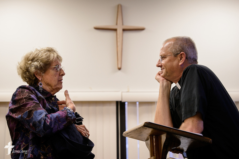 Parishioner Daphne Boydston talks with the Rev. Wally Arp,  senior pastor of St. Luke's Lutheran Church, following Bible class on Sunday, March 6, 2016, in Oviedo, Fla. LCMS Communications/Erik M. Lunsford