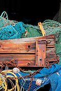 Layers of commercial fishing gear dockside at Swanquarter, NC.