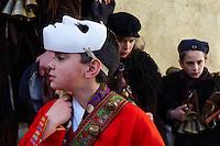 Italie. Sardaigne. Province de Nuoro. Village de Mamoida. Carnaval. mardi gras. Masque traditionel des Mamuthones et des Issohadores. // Italy. Sardinia. Nuoro province. Mamoiada village. Canival with Mamuthones and Issohadores mask.