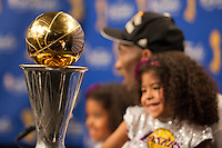 17 June 2010: Guard Kobe Bryant of Los Angeles Lakers speaks to the media while daughter Natalia smiles at the Bill Russell Finals MVP Trophy after the Lakers defeat the Boston Celtics 83-79 and win the NBA championship in Game 7 of the NBA Finals at the STAPLES Center in Los Angeles, CA.