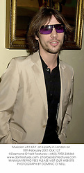 Musician JAY KAY  at a party in London on 18th February 2001.OLK 127
