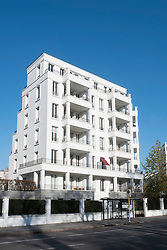 New luxury housing development at Am Schweizer Garten in gentrified district of Prenzlauer Berg in Berlin Germany