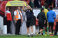Tony Humes, Manager of Colchester United salutes the away fans at the end of the match during the Sky Bet League 1 match between Walsall and Colchester United at the Banks's Stadium, Walsall<br /> Picture by Richard Blaxall/Focus Images Ltd +44 7853 364624<br /> 06/09/2014