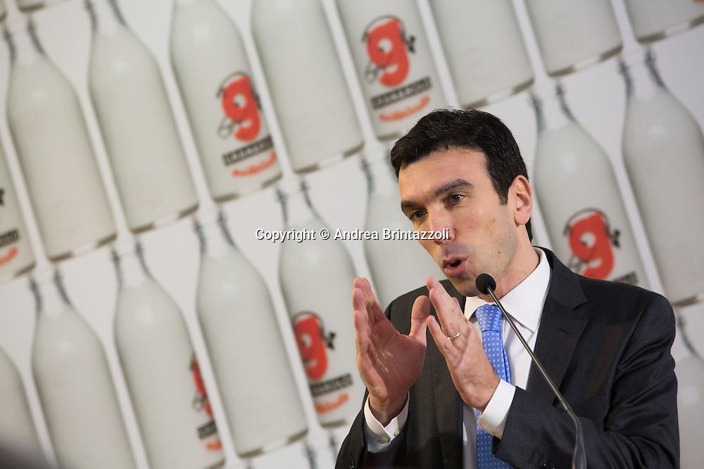 Bologna 10 Gennaio 2015 Il premier Renzi in visita alla Granarolo<br /> Nella Foto: Maurizio Martina Ministro delle Politiche Agricole