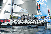 Emirates Team New Zealand, day two of the Cardiff Extreme Sailing Series Regatta. 23/8/2014