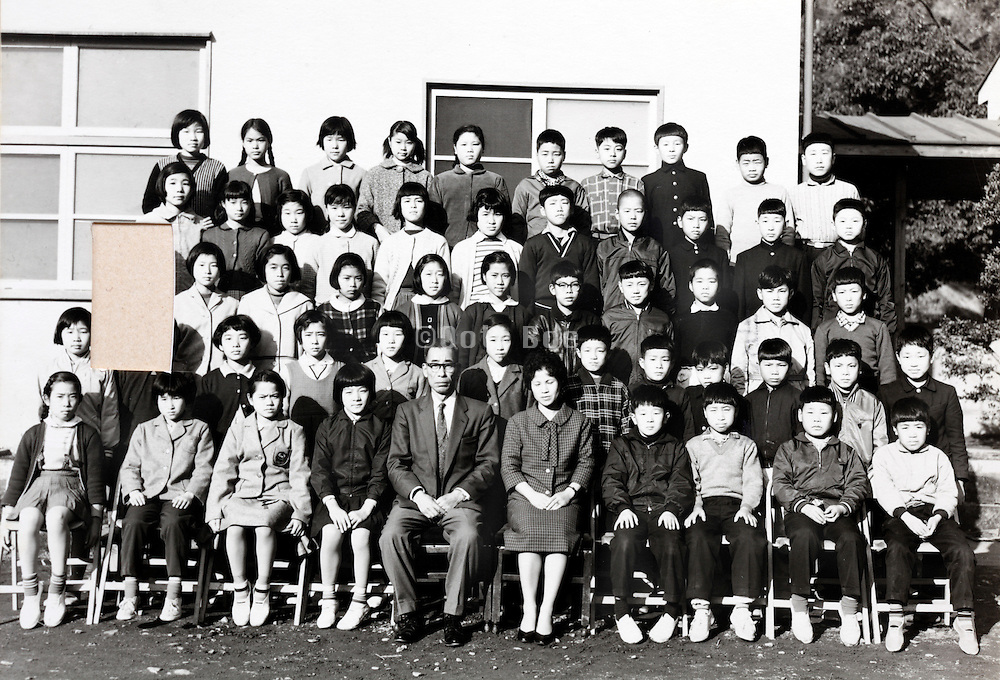 elementary school children group photo with cut out portrait 1961 Japan