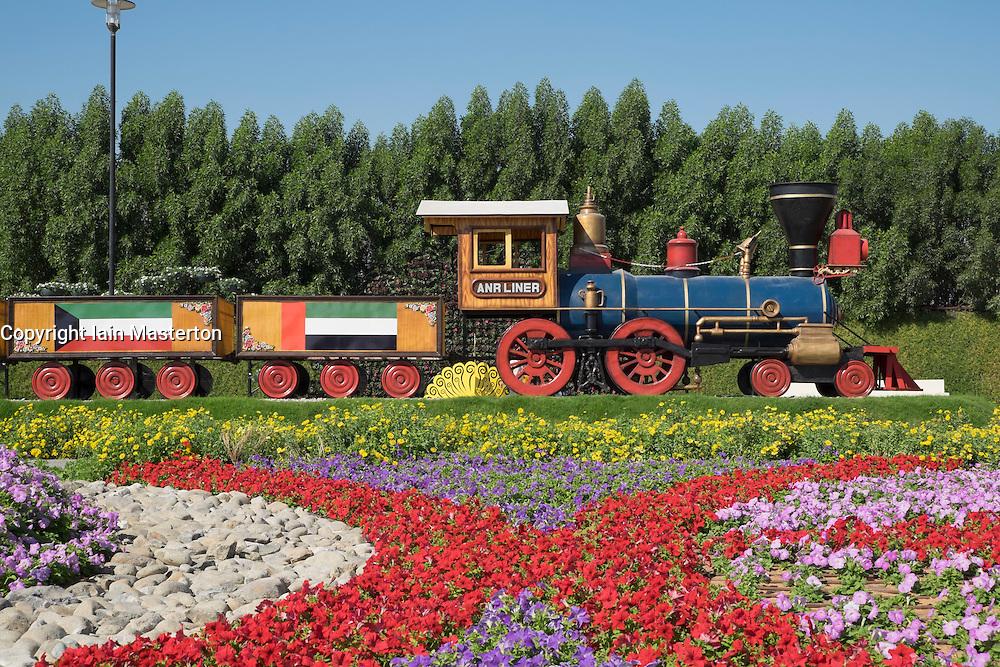Steam train and flower display at  Miracle Garden the world's biggest flower garden in Dubai United Arab Emirates