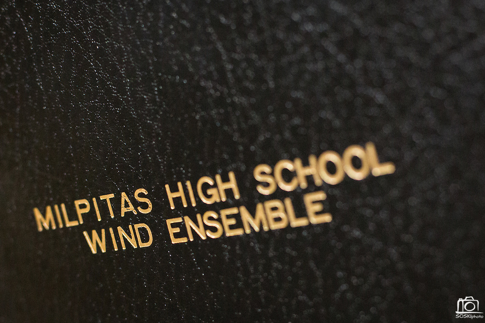 A detail of the Milpitas High School Wind Ensemble music book cover during the Milpitas Unified School District's Tenth Annual Music Festival at Milpitas High School in Milpitas, California, on April 4, 2013. (Stan Olszewski/SOSKIphoto)