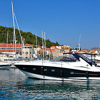 Small Boat Harbor in Korčula, Croatia<br />