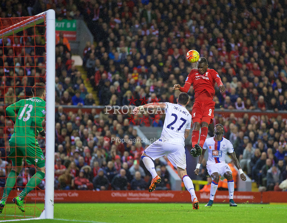 LIVERPOOL, ENGLAND - Sunday, November 8, 2015: Liverpool's Christian Benteke sees header go over the Crystal Palace crossbar during the Premier League match at Anfield. (Pic by David Rawcliffe/Propaganda)