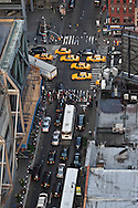 New York , elevated view of   40 street and 8th avenue in times square skyline at sunset and in midtown