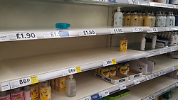 © Licensed to London News Pictures. 08/03/2020. London, UK. Tesco store in London runs out of hand sanitiser and hand wash amid an increased number of cases of Coronavirus (COVID-19) in the UK. Major supermarkets including Tesco, have started to ration certain products after shoppers began to stockpile. 273 cases in the UK have tested positive of the virus. Photo credit: Dinendra Haria/LNP