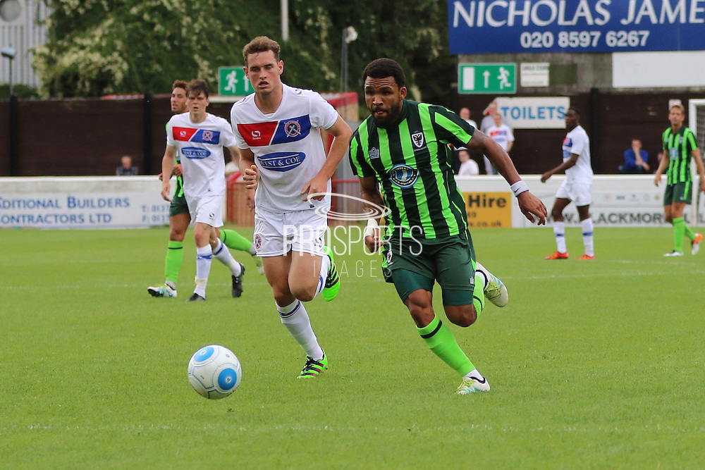 AFC Wimbledon striker Andy Barcham (17) during the Pre-Season Friendly match between Dagenham and Redbridge and AFC Wimbledon at the London Borough of Barking and Dagenham Stadium, London, England on 30 July 2016. Photo by Stuart Butcher.