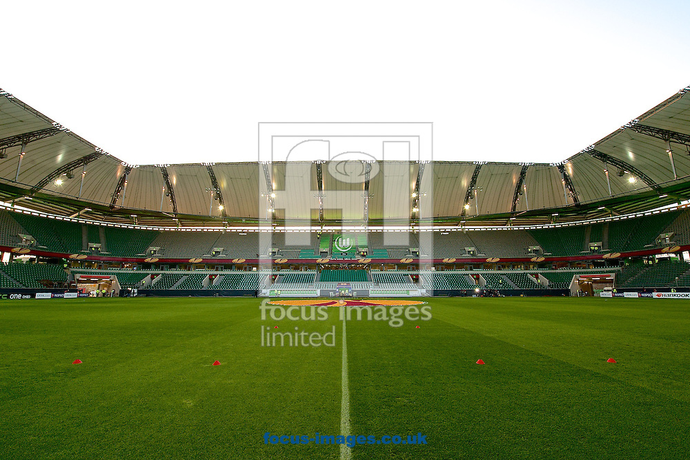 General view of the stadium pictured ahead of the UEFA Europa League match at Volkswagen Arena, Wolfsburg<br /> Picture by Ian Wadkins/Focus Images Ltd +44 7877 568959<br /> 19/02/2015