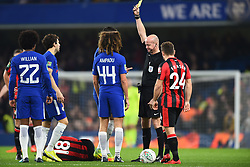 December 20, 2017 - London, Greater London, United Kingdom - Chelseas Ethan Ampadu is shown a yellow card by Referee Lee Mason during the Carabao Cup Quarter - Final match between Chelsea and AFC Bournemouth at Stamford Bridge, London, England on 20 Dec 2017. (Credit Image: © Kieran Galvin/NurPhoto via ZUMA Press)