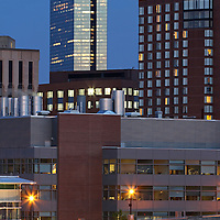 "Cambridge skyline photography at twilight showing landmarks such as Biotech giant Biogen Idec, Marriott Hotel, John Hancock building in Boston. Cambridge is a unique community with a strong mix of culture, demographic and social diversity, intellectual vitality and cutting-edge technological innovation. Cambridge is a major hub for leading biotechnology companies. It is one of the world's most important centers for biotech research, not only because it is a great place to live, work and to enjoy a diverse array of cultural activities, but also because it has access to an unmatched pool of talent and a wealth of institutional resources from its world-renowned educational institutions, Harvard University and the Massachusetts Institute of Technology (MIT). For biotechnology, it is ""the place to be.""<br />