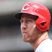 Todd Frazier,  Cincinnati Reds, preparing to bat during the New York Mets Vs Cincinnati Reds MLB regular season baseball game at Citi Field, Queens, New York. USA. 28th June 2015. Photo Tim Clayton