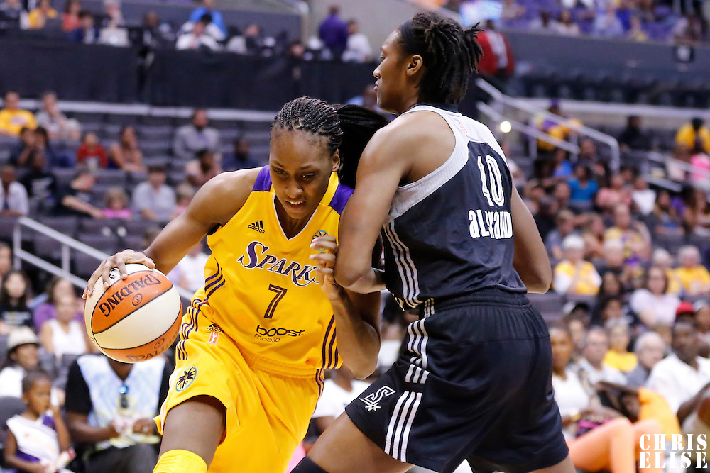 22 June 2014: forward/center Sandrine Gruda (7) of the Los Angeles Sparks drives past center Kayla Alexander (40) of the San Antonio Stars during the San Antonio Stars 72-69 victory over the Los Angeles Sparks, at the Staples Center, Los Angeles, California, USA.