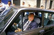 Roma 1987.Giorgio Almirante  segretario del MSI arriva in parlamento con la sua auto.Giorgio Almirante, secretary of MSI neo-fascist party  arrives  In Parliament with  the his car