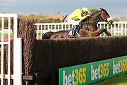 FINGERONTHESWITCH ridden by A P Heskin and trained by Neil Mulholland jumps the last fence and wins The Enjoy The Jumps On Racinguk Handicap Steeple Chase over 3m (£9,000)  during the Bet365 Meeting at Wetherby Racecourse, Wetherby, United Kingdom on 3 November 2018. Picture by Mick Atkins.