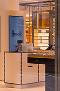 UNITED KINGDOM, London: 09 April 2020 <br /> The empty shop floor of Harrods can be seen through the closed doors of the high-end department store in Knightsbridge this morning. It is thought the shop has removed all items for safety of being stolen during the lockdown of the coronavirus pandemic.