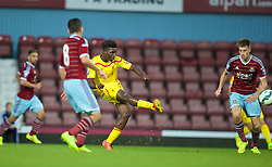 UPTON PARK, ENGLAND - Friday, September 12, 2014: Liverpool's Shay Ojo scores the second goal against West Ham United during the Under 21 FA Premier League match at Upton Park. (Pic by David Rawcliffe/Propaganda)