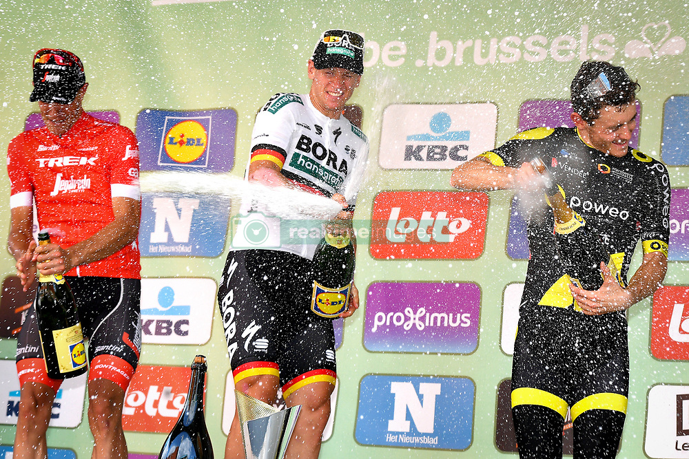 September 1, 2018 - Brussels, BELGIUM - Belgian Jasper Stuyven of Trek-Segafredo, German Pascal Ackermann of Bora-Hansgrohe and French Thomas Boudat of Direct Energie on the podium with champagne after the 'Brussels Cycling Classic' cycling race, 201,4 km from and to Brussels, Saturday 01 September 2018. BELGA PHOTO DAVID STOCKMAN (Credit Image: © David Stockman/Belga via ZUMA Press)