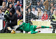 July 30th 2017, Dundee, Scotland; Betfred Cup football, group stages, Dundee versus Dundee United; Dundee United's Harry Lewis saves Dundee&rsquo;s Roarie Deacon penalty to win his side the group<br /> <br />  - Picture by David Young - www.davidyounghoto@gmail.com - email: davidyoungphoto@gmail.com
