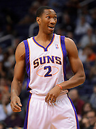 Oct. 12, 2012; Phoenix, AZ, USA; Phoenix Suns forward Wesley Johnson (2) reacts on the court during the game during the game against the Portland Trail Blazers at US Airways Center. Mandatory Credit: Jennifer Stewart-US PRESSWIRE