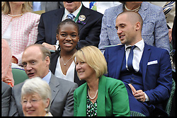 Olympic Boxer Nicola Adams  in the Royal Box during Mariana Duque Marino from Colombia and <br /> Laura Robson of Great Britain game on Centre Court on day 5 of The All England Lawn Tennis Club, Wimbledon, United Kingdom, Robson went on to win the game.<br /> Friday, 28th June 2013<br /> Picture by Andrew Parsons / i-Images