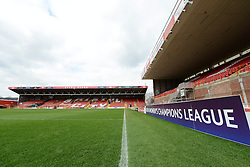 UEFA Women's Champions league branding - Photo mandatory by-line: Dougie Allward/JMP - Mobile: 07966 386802 - 21/03/2015 - SPORT - Football - Bristol - Ashton Gate Stadium - Bristol Academy v FFC Frankfurt - UEFA Women's Champions League - Quarter Final - First Leg