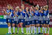 Brighton & Hove Albion FC Women during the Brighton and Hove Albion Women vs Arsenal Women, FA WSL Cup at The People's Pension Stadium, Crawley, England on 3 November 2019.