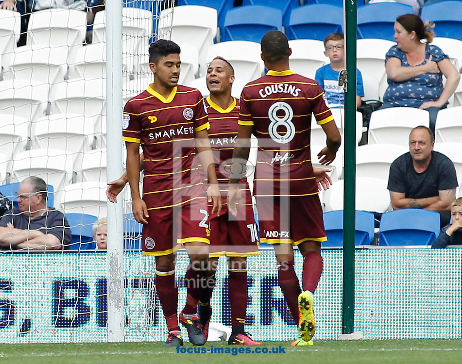 Tjaronn Chery of Queens Park Rangers (C) celebrates the second goal during the Sky Bet Championship match at the Cardiff City Stadium, Cardiff<br /> Picture by Mike Griffiths/Focus Images Ltd +44 7766 223933<br /> 14/08/2016