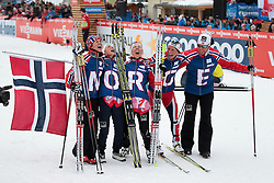 28.02.2013, Langlaufstadion, Lago di Tesero, ITA, FIS Weltmeisterschaften Ski Nordisch, Langlauf Damen, 4x5 Km, im Bild Norway team with Heidi Weng (NOR) // Heidi Weng of Norway, Therese Johaug (NOR) // Therese Johaug of Norway, Kristin Stoermer Steira (NOR) // Kristin Stoermer Steira of Norway and Marit Bjoergen (NOR) // Marit Bjoergen of Norway during the Ladies 4x5 km Relay Cross Country  of the FIS Nordic Ski World Championships 2013 at the Cross Country Stadium, Lago di Tesero, Italy on 2013/02/28. EXPA Pictures  ©  2013, PhotoCredit: EXPA/ Federico Modica